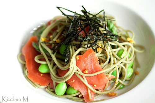 Green Tea Soba with Smoked Salmon and Tangerine Salt