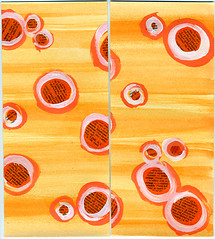 orange spotty handmade paper