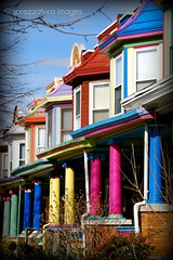 The Painted Ladies of Charles Village (Sprezzatura Images) Tags: architecture vanishingpoint columns baltimore repetition pillars paintedladies rowhouses porches charlesvillage