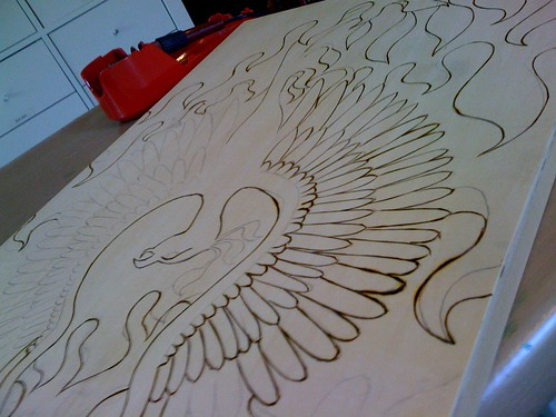 Pyrography in progress