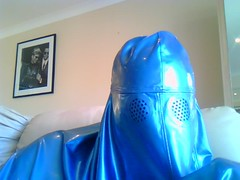 Watching Sir (latexladyll) Tags: blue fetish veil rubber latex submission burqa silenced gagged enclosure bdsmlifestyle