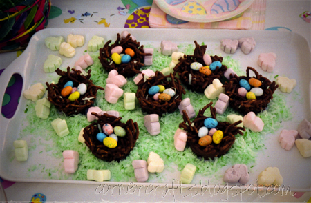 2nd-birthday-party-easter-girl-chocolate-nest-chow-mein-candy-egg