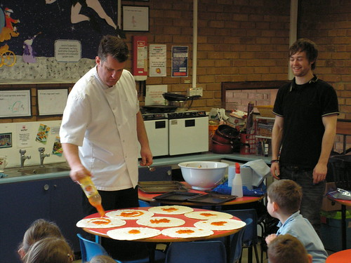 Matthew and Charlie making Vegetable Tortillas