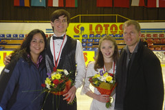 Will Chitwood and Aaryn Smith with Coaches Dalilah Sappenfield and Tom Zakrajsek at the 2005 Baltic Cup JGP in Gdansk, Poland