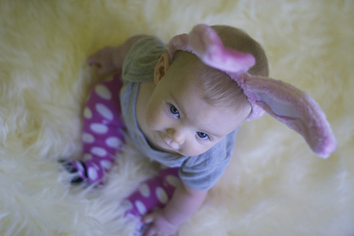 easter, easter bunny, baby with bunny ears, fluffy bunny ears, easter bunny ears, easter bunny ears on a baby, delilah george