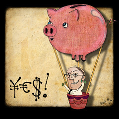 piggybank balloon (crosti) Tags: money businessman illustration happy glasses flying crazy high serious euro christina yes rich calm dollar hotairballoon positive piggybank economic economy yen crisis tsevis crosti businessgrowth