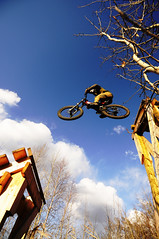 Red Deer MTN bike park (stephenmdensmore) Tags: red sports bike outdoors jump air ramps deer alberta mtn norco