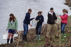 Emma, Griffin, Heidi, Luke, and Elizabeth bucket brigade for irrigation