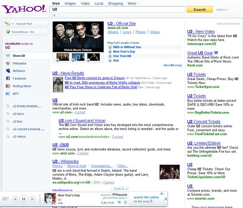 U2 Yahoo! Search Results Page