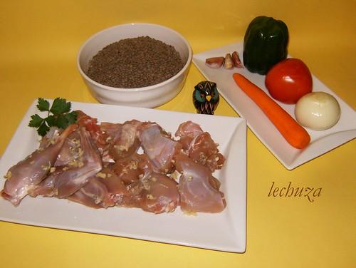 Conejo con lentejas-ingredientes