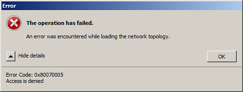 Failover Cluster Validation Error 80070005 on Windows Server 2008 R2