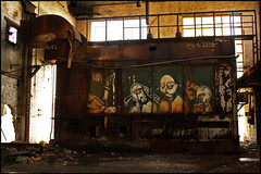 4 Blind Mice (DetroitDerek Photography ( ALL RIGHTS RESERVED )) Tags: camera november urban usa plant abandoned metal digital america canon eos rebel graffiti midwest closed industrial decay michigan steel empty urbandecay detroit engine continental bleak weathered motor xs economy 2009 crusty blight dilapidated allrightsreserved manufacture 313 motown