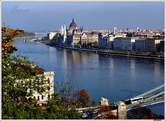 Der Schne Blaue Donau....Budapest (jackfre2 (on a trip-voyage-reis-reise)) Tags: bridge blue trees red bus cars water leaves buildings river budapest parliament roofs dome legacy soe danube breathtaking buda castlehill banks pest donau mywinners breathtakinggoldaward artofimages bestcapturesaoi flickrvault breathtakinghalloffame