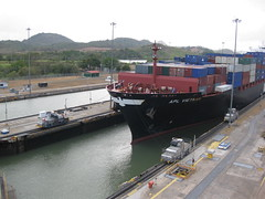 Ship passing through Miraflores Locks