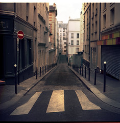 .empty spaces. (andrenzo) Tags: road street house love film composition photography one photo nc none no dream montmartre case dreams medium format nothing rue cartello kiev medio 60 stradale palazzi 160 formato nessuno pellicola strisce pedonali odak andrenzo andreacolombo introvertevent colomboandrea