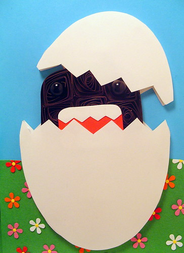 Paper Quilling Domo hatching from an egg