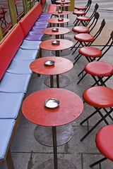 On the left bank (bag_lady) Tags: red paris france bar chairs round tables stgermain leftbank happyhour concordians