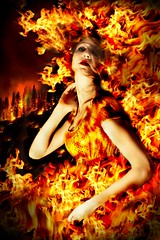 miss Fire (RoYaLHigHnEsS1) Tags: portrait people girl fashion lady photoshop fire glamour manipulation flame burn