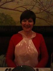 Mum in her classy plastic bib