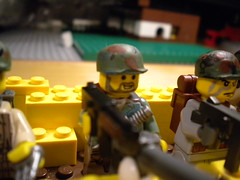 storm the trenches (crazed Minnesotan) Tags: world yellow war lego m1 painted bricks wwii knife prototype ba custom combat cod helmets carbine brickarms stormthetrenches