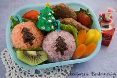 Ornamental Bento (pikkopots) Tags: christmas tomato strawberry rice pork lettuce ornament onigiri carrot bento kiwi patty bellpepper nori