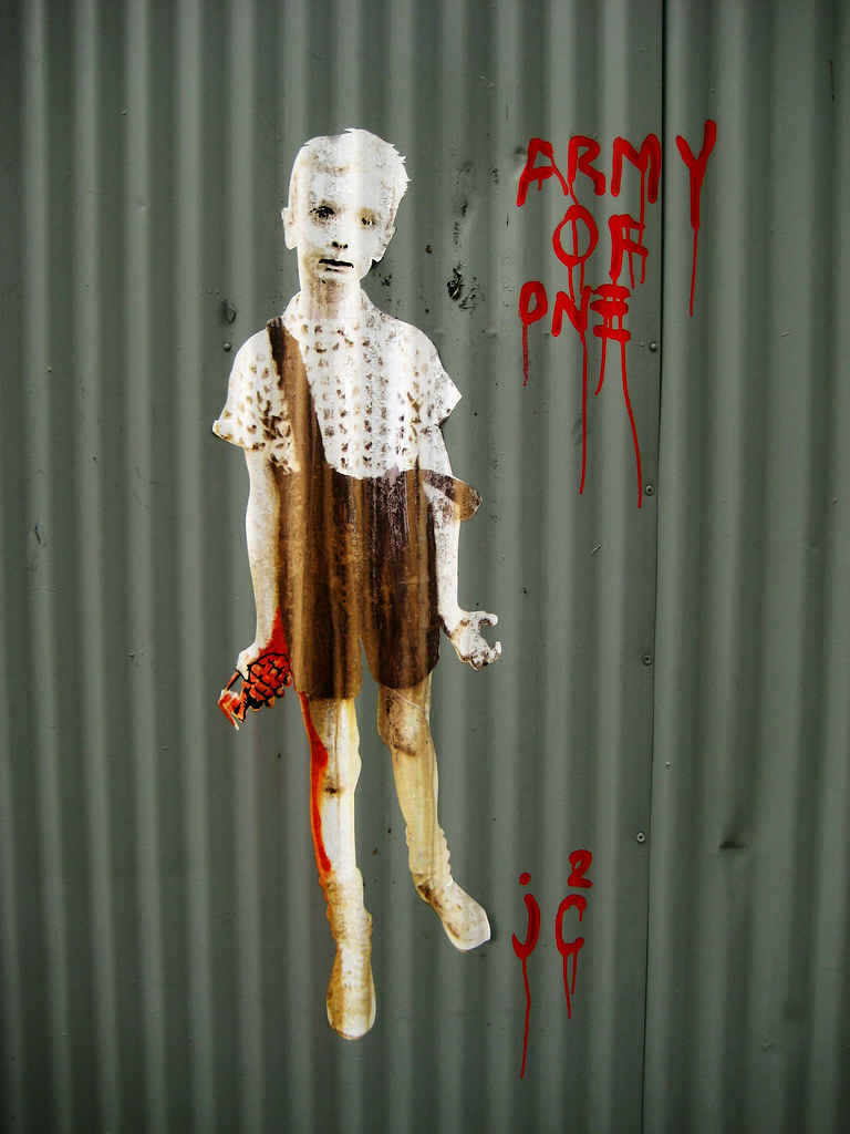 Army of One - Child with Toy Hand Grenade Graffiti 004