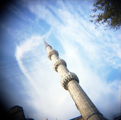 blue mosque minaret (donnievendetta) Tags: blue 120 film turkey square holga lomo lomography kodak minaret istanbul mosque 160vc sultanahmet cfn