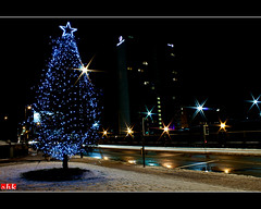 Merry Christmas 2009 (.:shk:.) Tags: road city uk longexposure light england snow tree weather manchester eos star britain christmastree sparkle happyholidays merrychristmas karim deansgate shk sogs uksnow eos500d shkarim sogir sogskarim canoneos500dshkarim sogskarimsogirkarim