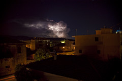Nature's light show (nocturne gr) Tags: show longexposure houses sky cloud storm church nature rain weather night dark stars lights cityscape searchthebest hometown sony greece lightning stormynight messinia peloponnisos supershot filiatra a350 sampalis