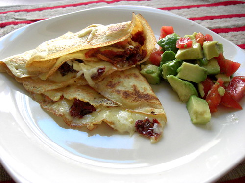 Crepes with feta cheese and sundried tomatoes
