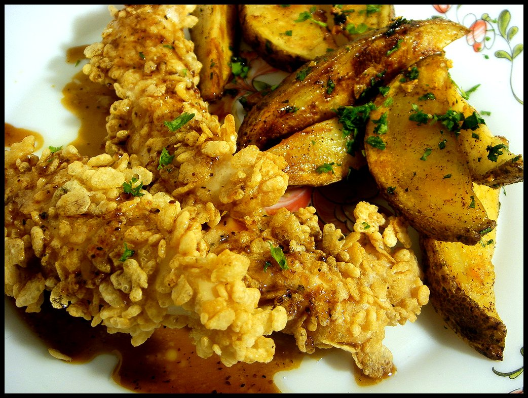 Baked Chicken Fingers with Chili-Garlic Potatoes