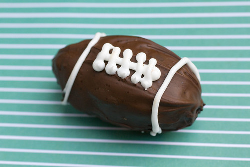 Chocolate Peanut Butter Football on green 2
