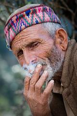 Shepherd takes a break (takenbytim) Tags: old travel portrait people india man asia shepherd indian smoking himalaya himalayan indiablog