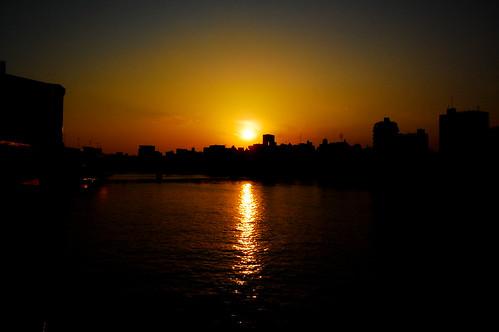Sun rising in Asakusa