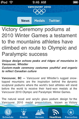 Official 2010 Vancouver Spectator Guide for iPhone