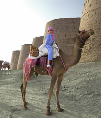 Camel Boy. (Commoner28th) Tags: blue pakistan boy sky india costume kid sand colorful child dress desert fort culture camel desi colourful punjab ahmed sindh indus thar rajasthan multan ivc agha waseem cholistan indusvalley rohi derawar indusvalleycivilization bahwalpur commoner28th jasalmir