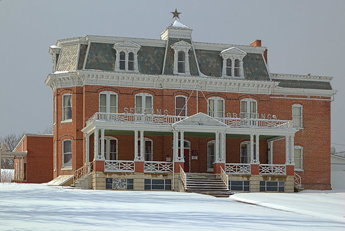 Busch mansion, in Washington, Missouri, USA - exterior in snow