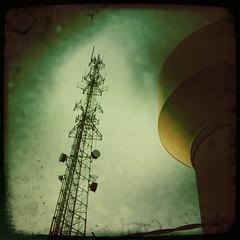Utilities (BlazerMan) Tags: watertower noflash 3g barbedwire antenna iphone 12of12 021210 johnslens hipstamatic floatfilm february122010