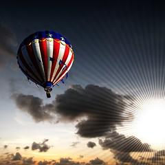 Skyride (Heaven`s Gate (John)) Tags: travel blue sunset red sky sun white clouds balloon flight dramatic sparkle imagination skyride thrill exciting 10faves 25faves johndalkin heavensgatejohn