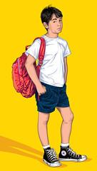 Zachary Gordon of Diary of a Wimpy Kid Art (Mel Marcelo) Tags: boy fashion kid vectorart tshirt backpack shorts adobeillustrator spotcolors coverse melito diaryofawimpykid melmarcelo zacharygordon