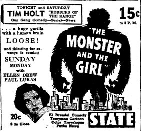 THE MONSTER AND THE GIRL (1941) Newspaper advertisement 5-16-41
