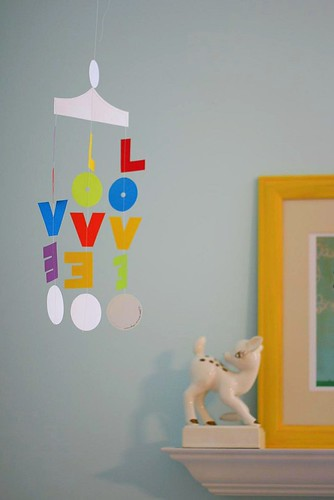 Love mobile in the nursery