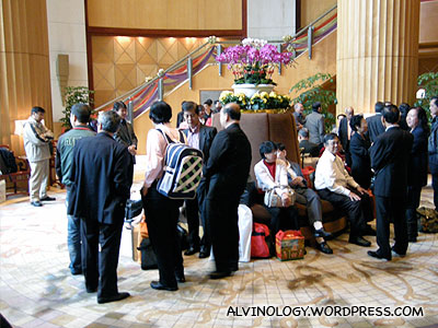 Everyone waiting for our buses at the hotel lobby