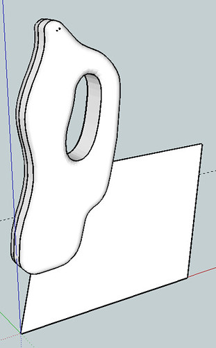 3D model in SketchUp of proposed saw handle