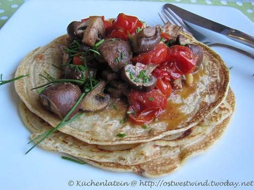 Vegane Tomaten-Pilzpfannkuchen