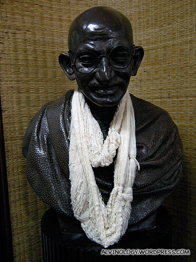 A smiling figurine of Ghandi greeted us when we stepped in