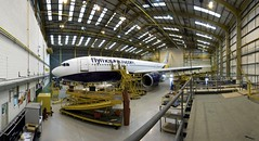 Monarch Airbus A300 routine maintenance (Monarch Aircraft Engineering) Tags: uk travel photo aircraft hangar engineering aeroplane photograph repair airline maintenance monarch airbus luton airliner aerospace mro a300 overhaul ltn a300b4605r