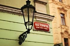 Old Town, Prague (aannasw) Tags: travel green lamp canon eos golden europe republic czech prague praha streetsigns oldtown staremesto t1i malastupartska