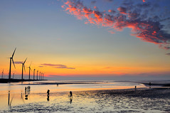 Sunset in Wetland  (Vincent_Ting) Tags: sunset sky nature water windmill silhouette clouds nikon taiwan windmills  formosa   windturbine wetland  windturbines        formose