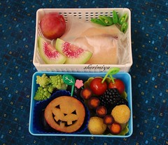 Banh Mi with Jack-o-Lantern Bento (sherimiya ) Tags: school cute halloween lunch kid jackolantern tomatoes sheri plum sandwich grapes bento blackberries romanesco banhmi obento peapods goldenraspberries watermelonradish purplecarrots sherimiya